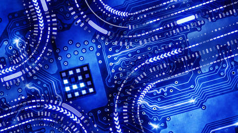 blue technology circuit board background loop Animation