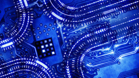 blue technology circuit board background loop Stock Video Footage