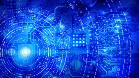blue computer circuit board background loop Stock Video Footage