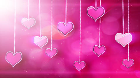 shiny hearts dangling on strings love loop backgro Animation