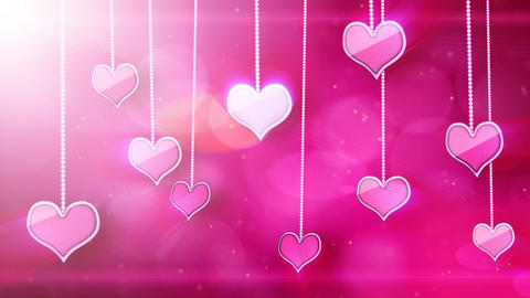 shiny hearts dangling on strings love loop backgro Stock Video Footage