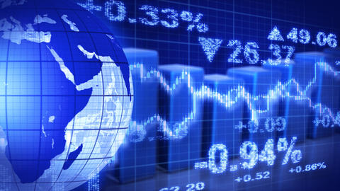 globe and graphs blue stock market loopable backgr Stock Video Footage