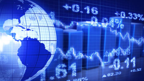 globe and graphs blue stock market loopable backgr Animation