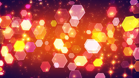 flashing hexagonal bokeh lights and particles loop Stock Video Footage