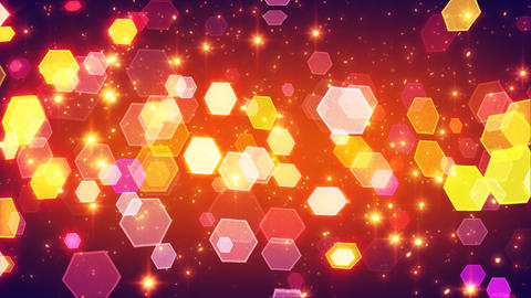 flashing hexagonal bokeh lights and particles loop Animation
