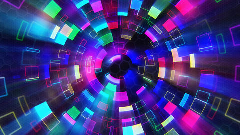 multicolored shiny circular segments blinking loop Stock Video Footage