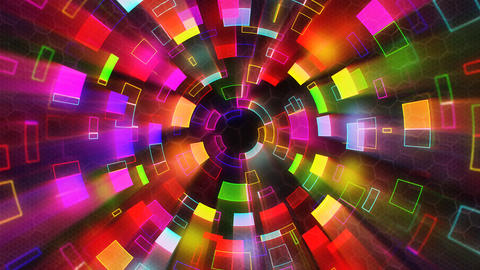 multicolored shiny circular segments blinking loop Animation