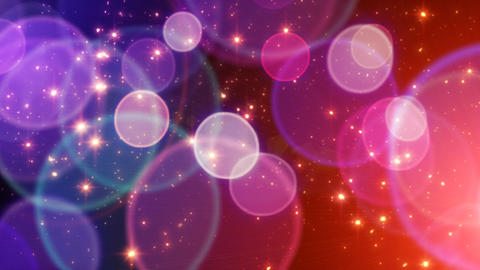 red blue big circle bokeh lights and sparkles loop Animation