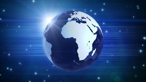 globe and stars on blue loop Animation