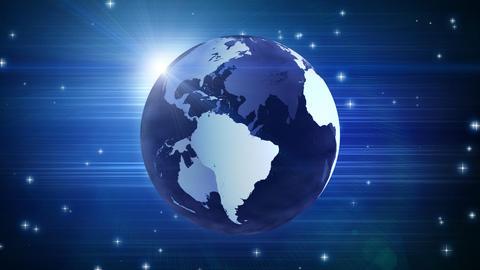 globe and stars on blue loop Stock Video Footage