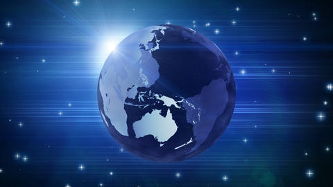 globe and stars on blue loop Stock Video Footage