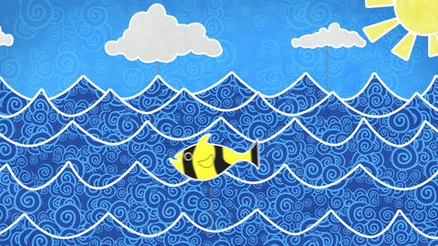 fishes in the sea loopable animation Stock Video Footage
