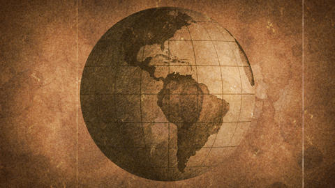 globe sketched on old paper grunge loop background Animation