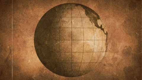 globe sketched on old paper grunge loop background Stock Video Footage