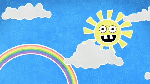 sun rainbow and clouds in sky loop animation Stock Video Footage