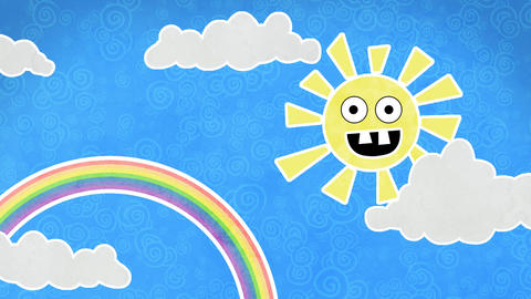 sun rainbow and clouds in sky loop animation Animation