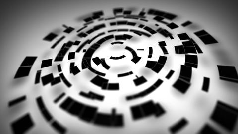 black circular segments rotate loop Stock Video Footage