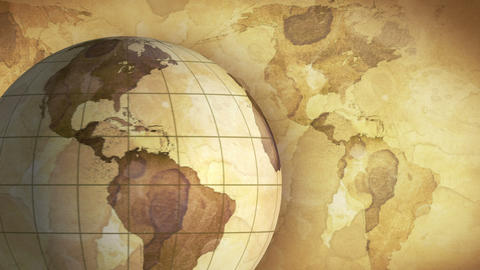 Vintage Rotating Globe And Map Of The World Loopab stock footage