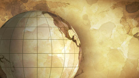 vintage rotating globe and map of the world loopab Stock Video Footage