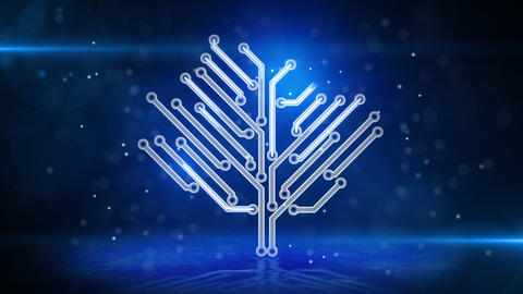 blue circuit board electronic hi-tech tree loop Stock Video Footage