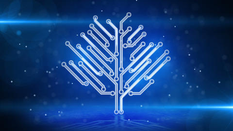 blue circuit board electronic hi-tech tree loop Animation