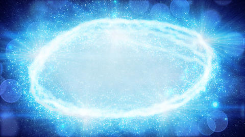 blue oval light and particles loop background Animation