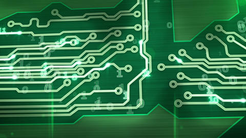 green digital circuit board pan loop Animation