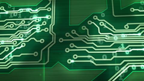 green digital circuit board pan loop Stock Video Footage