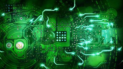 green computer circuit board background loop Stock Video Footage