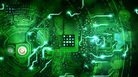 green computer circuit board background loop Animation