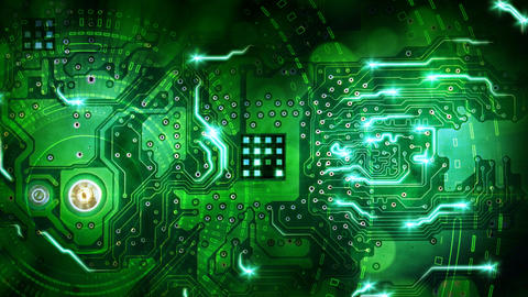 green computer circuit board background loop Stock Video Footage