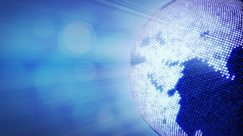 spinning shiny blue disco stylized globe loop Stock Video Footage