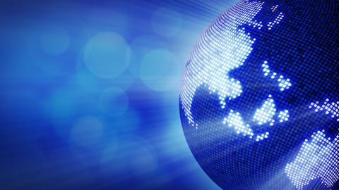 spinning shiny blue disco stylized globe loop Animation