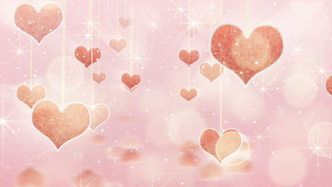 pink hearts dangling on strings and glares loop Animation
