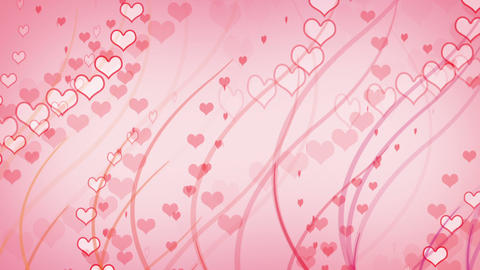 hearts and curves pink background loop Stock Video Footage