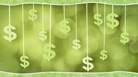 green dollar signs dangling on strings loop backgr Stock Video Footage