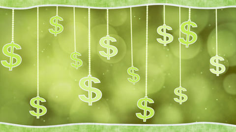 green dollar signs dangling on strings loop backgr Stock Video Footage