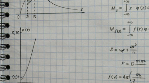 math physics formulas on exercise book Stock Video Footage