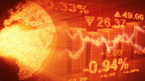 globe and graphs orange stock market loopable back Animation