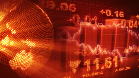 globe and graphs orange stock market loopable back Stock Video Footage
