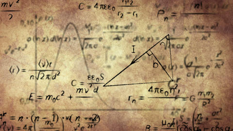 math physics formulas on old paper loopable Stock Video Footage