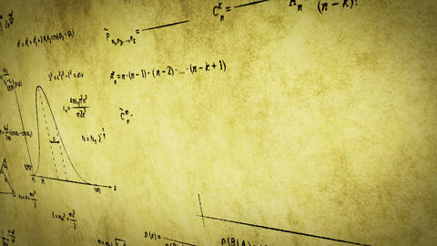math physics formulas on old paper panning loop Stock Video Footage