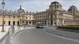 Louvre Palace, Paris, France with sound (BUS AT PA Stock Video Footage