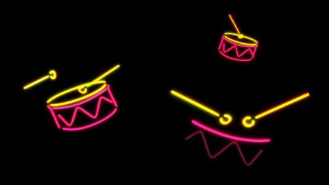 neon Drum color Stock Video Footage