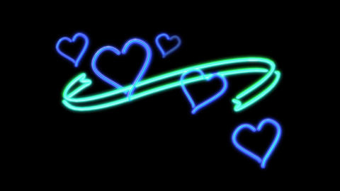 neon heart color blue Stock Video Footage