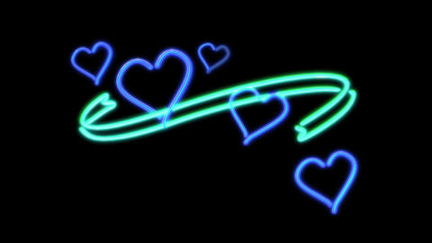 neon heart color blue Animation