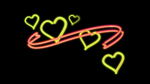 neon heart color orange Animation