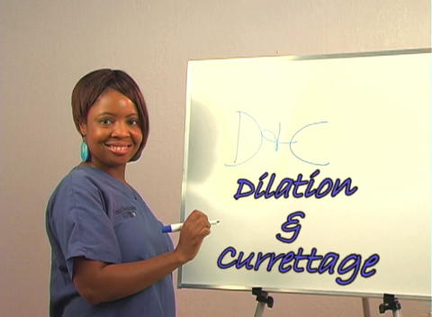 "Beautiful Nurse Writes ""D&C"" on a White Board Footage"