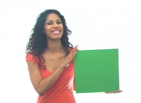 Beautiful Latina with Green Card-1a Stock Video Footage