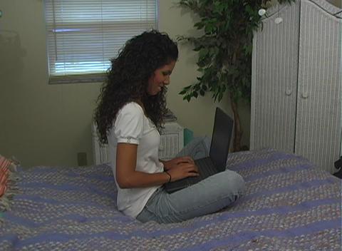 Beautiful Latina with Laptop (2) Stock Video Footage